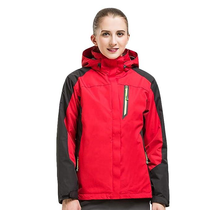 WanYangg Mujer Chaqueta De Esquí Impermeable 3-En-1 Doble Capa Cortavientos Montaña Abrigo