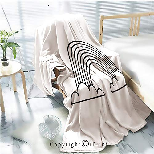 AngelSept Printed Throw Blanket Smooth and Soft Blanket,Cute Rainbow Isolated icon2 for Sofa Chair Bed Office Travelling Camping,Kid Baby,W31.5 x H47.2
