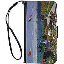 Rikki Knight Claude Monet Jardin a Sainte-Adresse Design iPhone 6 & 6s PU Wallet Flip Case with Kickstand and Magnetic Flap - Black