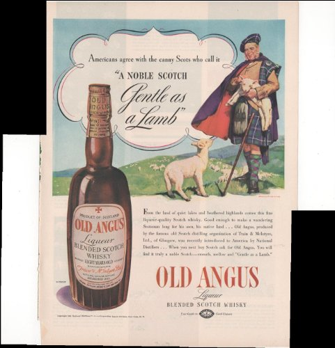 - Old Angus Liqueur Blended Scotch Whisky Sheep Scot 1938 Antique Advertisement