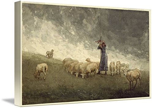 Wall Art Print Entitled Shepherdess Tending Sheep -_Winslow_Homer by Celestial Images | 10 x 6