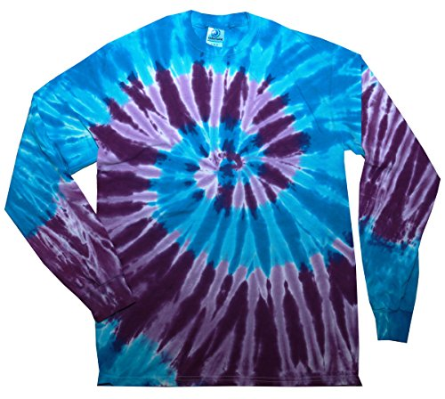 Dye T-Shirts Long Sleeve Multicolor Adult 100% Pre-Shrunk Cotton (Blue Purple Swirl, XX-Large) ()