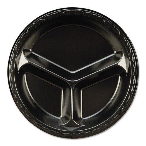 Genpak Elite 10.25 inch 3 Compartment Laminated Foam Plate Black - 500 per case.