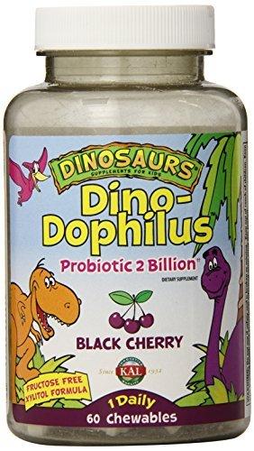 Acidophilus Black Cherry (KAL Dino-Dophilus Probiotic 2 Billion Chewables, Black Cherry, 60 Count by Kal)