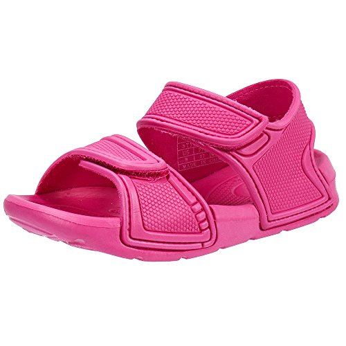 Athletic Slip Clogs (Zefani Kid's 2-Strap Sports Sandals Children Non-Slip Summer Beach Shoes Fushia 2 M US Little Kid)