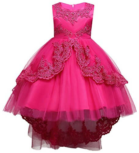MisShow New Pageant Dress Princess Costume Bowknot Girl Flower Dress Rose Red