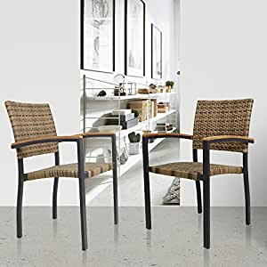 livebest al aire libre completa Patio ratán sillas muebles silla de comedor (2unidades)