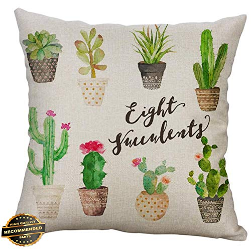 Kaputar Cotton Linen Square Home Decorative Throw Pillow Case Sofa Waist Cushion Cover Cactus# 4   Style PLWCS-182012446 ()