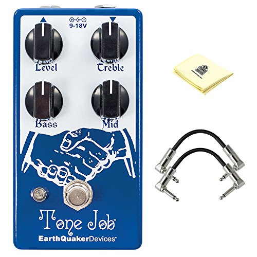 - EarthQuaker Devices Tone Job V2 EQ and Boost Effect Pedal with Treble, Bass and Mid Controls Guitar Effect Pedal Package included 2 Patch Cable and Zorro Sounds Guitar Polishing Cloth