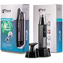 Flend 2-in-1 Waterproof Nose and Ear Hair Electric Trimmer Kit with Changeable Head for Beard and Mustache Grooming