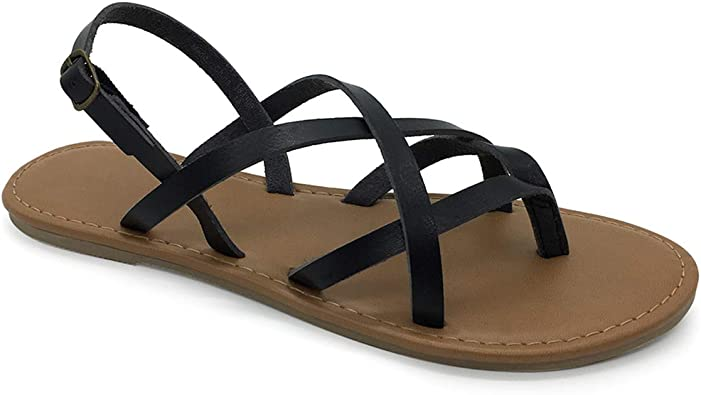COLGO Women's Summer Strappy Flat Sandals, Adjustable Casual Fisherman Sandal with Open Toe Slingback Gladiator Sandals