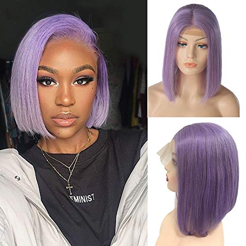 Ubetta Bob Wigs Lilac/Purple 8 Human Hair Lace Front Hand Tied Straight Bob Wig Glueless 13X4 Lace Wig Middle Part Pre Plucked with Baby Hair 180% Density Remy Full Hair Wig for Black Women