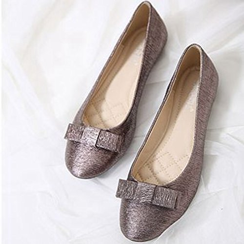 GIY Womens Fashion Ballet Loafers Flats Slip on Glitter Bow Pointed Toe Classic Dress Casual Shoes Silver-brown tjcaL6