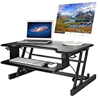 SunSmart Standing Desk Converter Sit Stand Desk Adjustable Height Desk Riser with Spacious Keyboard Tray -Black