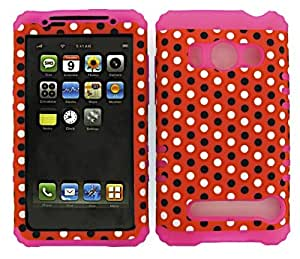 HYBRID IMPACT SILICONE CASE + MAGENTA HOT PINK SKIN FOR HTC EVO 4G A9292 DOTS ON RED