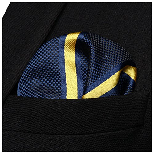 HISDERN Men's Stripe Check Wedding Party Pocket Square Handkerchief ()