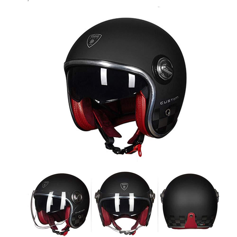 Half Open Face Open Face Casco Moto Casco Moto Custom Cafe Racer Touring Casco A Prueba de Viento A Prueba de Arena Moda,M