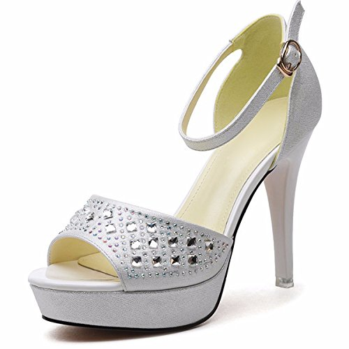 KPHY Zapatos de Mujer/Sandalias Hada Pescado Boca Sexy Roma Hebillas white