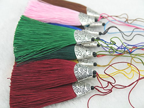 18 Colors 10pcs Silky Handmade (2.2'') Soft Fiber Tassels with Antique Silver (Handmade Tassels)