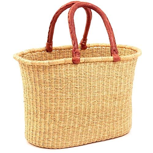 Fair Trade Baskets - African Market Basket, Large Oval Woven Straw Basket with Handle Fair Trade Storage Organizer