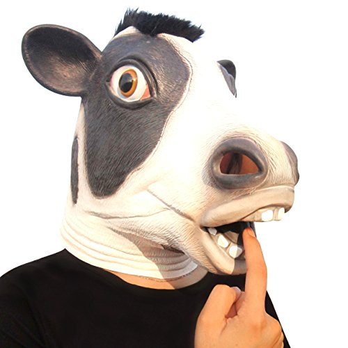 Aqkilo Cow mask Latex Animal Head mask Halloween Costume(Black)