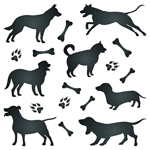 Dog Silhouette Stencil - 6.5 x 6.5 inch (M) - Reusable Pet Friend Animal Wall Stencil Template - Use on Paper Projects Scrapbook Journal Walls Floors Fabric Furniture Glass Wood etc.