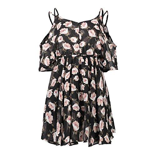 Cut Dress Out Women Sling Mini Printing Shoulder Coolred Pattern6 Chiffon 6E4Awqq