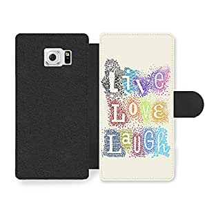 Live Love Laugh, New Cool Inspirational Quote Design Faux Leather case for Samsung Galaxy S6