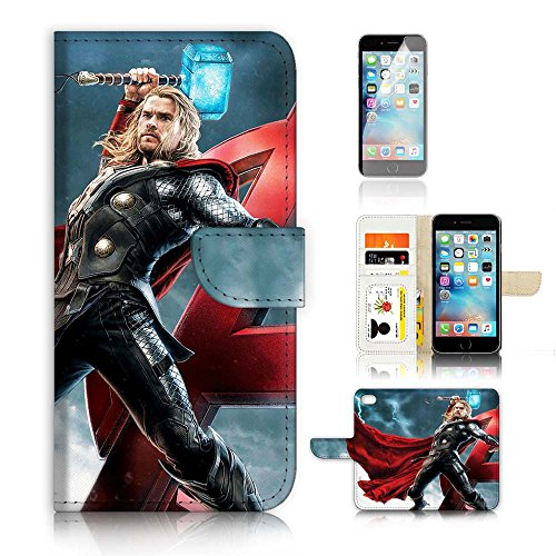 ( For iPhone 7 ) Wallet Case Cover & Screen Protector Bundle! A20802 Superhero Thor (Cover Thor)