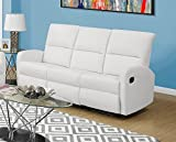 Monarch Specialties I 84WH-3 Reclining Sofa in White Bonded Leather For Sale
