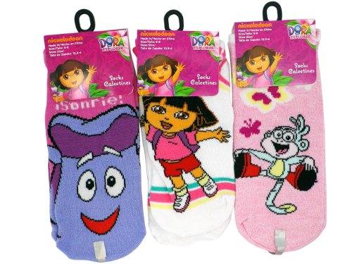 3 Pair Assorted Dora the Explorer Socks (Size 6-8) - Dora the Explorer Ankle Socks