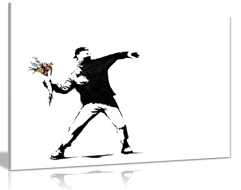 Banksy Flower Thrower Canvas Wall Art Picture Print (36X24) Panther Print