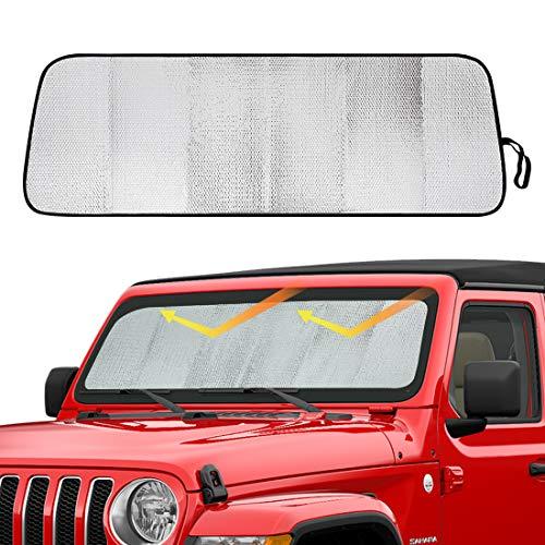 SUPAREE Front Windshield Sunshade, Sun Shade Heat Shield, Aluminum Foil Sun Visor Mat for 2018 2019 Jeep Wrangler JLInterior Accessories