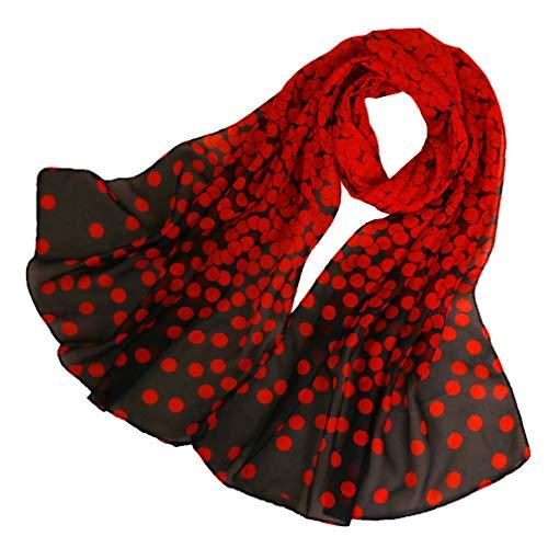 LMVERNA Birds Printed Scarf Women's Floral Scarves chiffon scarves popular shawls (Red+black)