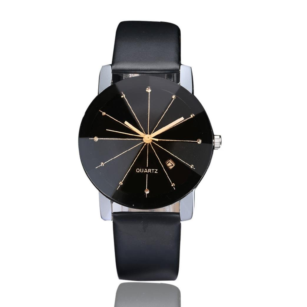 Wrist Watch, Lookatool Men Luxury Stainless Steel Quartz Date Sport Leather Band Dial Wrist Watch, Black