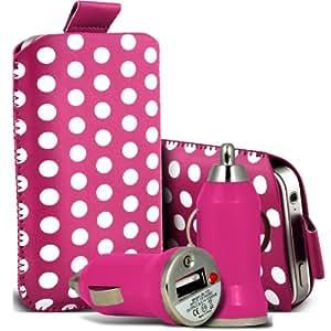 Samsung Galaxy Ace 3 S7270 Protección Premium Polka PU tracción Piel Tab Slip In Pouch Pocket Cordón piel cubierta de la cubierta del caso Rápido y Bullet Rápido Cargador USB para coche con luz de carga LED Hot Pink & White por Spyrox