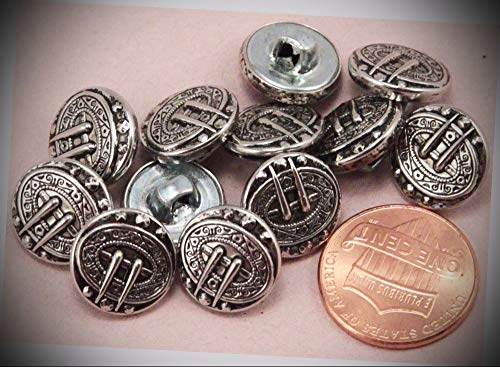 (JumpingLight 12 Small Silver Tone Metal Black Accent Buttons Puffed 1/2'' 13MM 6317 Perfect for Crafts, Scrap-Booking, Jewelry, Projects, Quilts)