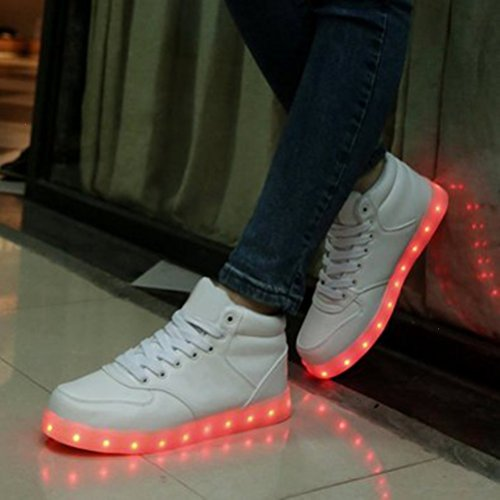 (Present:kleines Handtuch)JUNGLEST® High-Top 7 Farbe LED Leuchtend Sport Schuhe Glow Sneakers USB Aufladen Turnschuhe für Unisex Herren Da Weiß