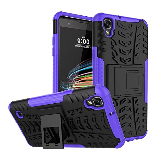 LG Tribute HD Case, LG X Style Case, MCUK Heavy Duty Rugged Dual Layer - Soft/Hard Shell 2 in 1 Tough Protective Cover Case with Kickstand for LG Tribute HD / LG X Style (Purple) (Jeweled Lg Tribute Case)