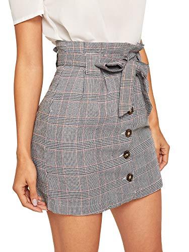 WDIRARA Women's Casual Plaid High Waist Button Closure A-line Mini Short Skirt Red M ()