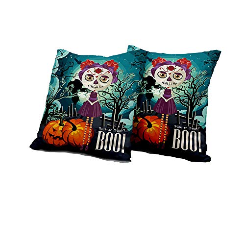 All of better Wheelchair Cushion Cover Halloween,Cartoon Girl with Sugar Skull Makeup Retro Seasonal Artwork Swirled Trees Boo,Multicolor Double-Sided Printing Pillowcase 24x24 INCH 2pcs -