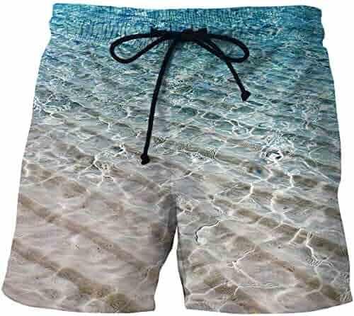 Bing4Bing Light Green Lion Summer Fast Dry Beach Men Board Shorts
