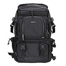 Evecase Extra Large DSLR Camera/Laptop Travel Backpack Gadget Bag w/ Rain Cover for Nikon SLR Series Digital Cameras- Black