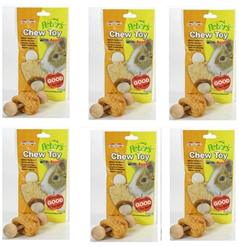 - (6 Pack) Marshall Pet Products Peter's Chew Toy for Rabbits and Small Animals, Apple