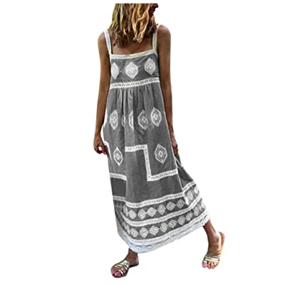 Xinantime Womens Casual Bohemian Dress Loose Printed Striped Swing Maxi Dresses for Daily, Beach Wear at Women's Clothing store