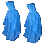 Totes Raines Adult Rain Poncho 2 Pack (Yellow/Royal Blue)