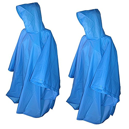 Totes 2 Pack Waterproof Rain Ponchos (Clear & Green, One Size)