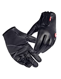 Waterproof Cycling Gloves Touchscreen Outdoor Windproof Bike Gloves for Men's Women (L, Black)