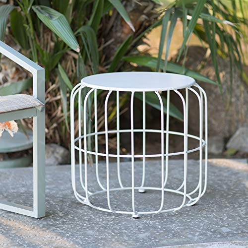 Outdoor Accents White Metal Wire Cage Style Round Drum Patio Side Table End Table Accent Table Garden Stool