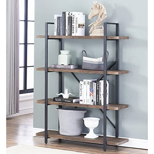 O&K Furniture 4 Shelf Open Bookcase Vintage Industrial Style Bookshelves Brown